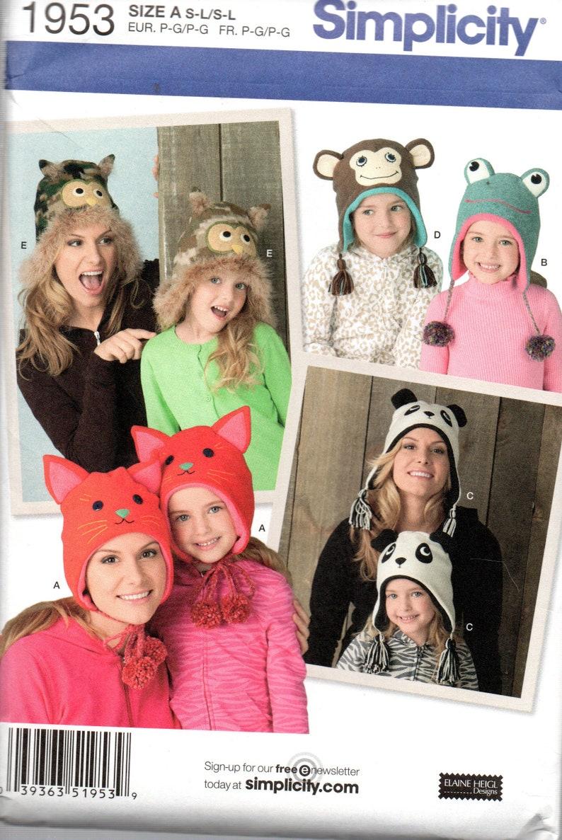MOTHER /& DAUGHTER Fleece Animal HATS Simplicity Pattern 1953 ~ Owl Monkey Frog Cat Panda