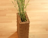 Plant basket made of braid and metal, decorative object, ideal for bamboo, grass planter braid metal vintage mid century vase for decoration