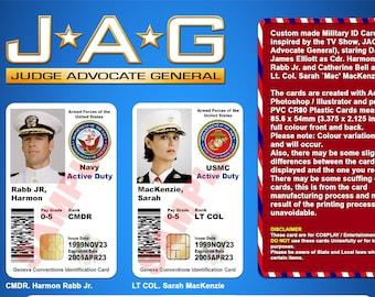 J.A.G. TV Show Movie Prop, Judge Advocate General  Military CAC ID Card, Harmon Rabb, David James Elliott, Sarah MacKenzie, Catherine Bell
