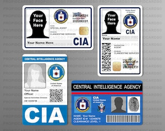 Novelty CIA ID Badges, Movie Prop, TV Props, Central Intelligence Agency Id card