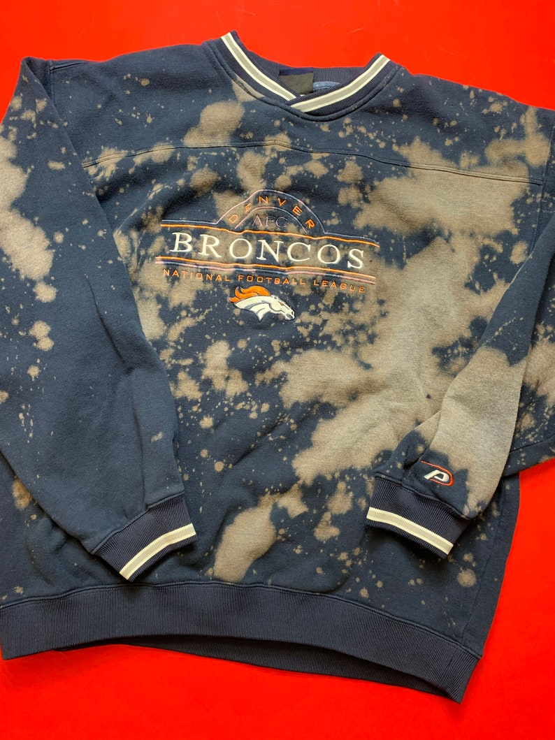 Custom Bleached Pro Player Denver Broncos Crewneck