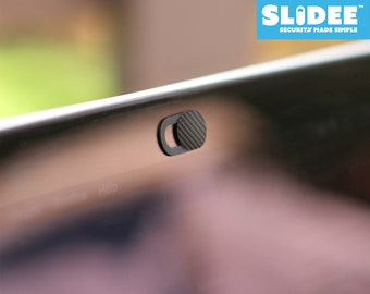 SLiDEE Webcam Covers   Carbon Fibre Design   Ultra-Thin for Laptops, Smartphones & Tablets   Privacy Shutter for Hacker