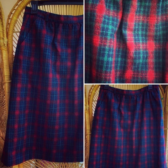 1970s Leslie Fay Plaid Skirt