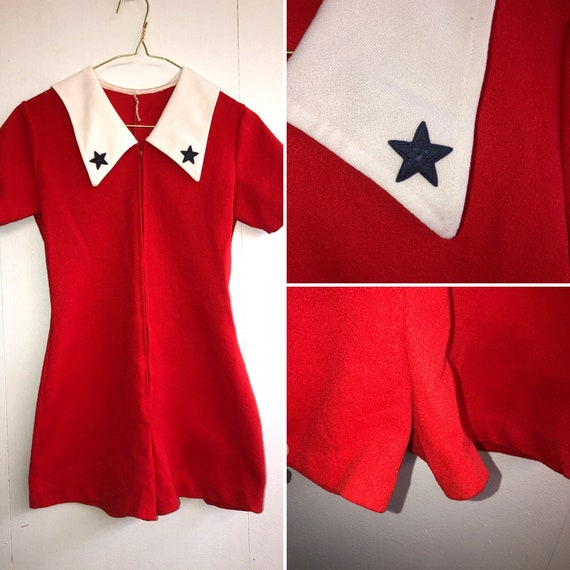 1960s Red Nautical Romper - SMALL