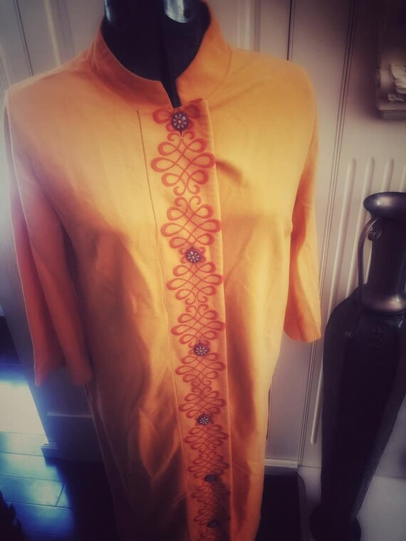 1970s Orange Housecoat/Duster