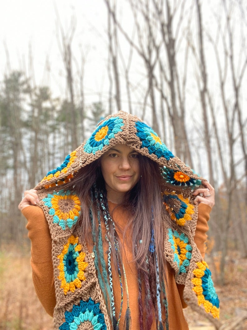 granny square hooded scarf green yellow tan