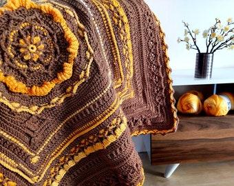 Textured crochet afghan/blanket pattern Caramel Chocolate Cake. Written instructions, video tutorial. Extendable size