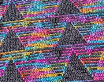Mosaic afghan/blanket pattern  Behind The Mountains. Chart. Perfect gender neutral gift for mother/father, daughter/son