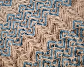 Zigzag, chevron mosaic crochet afghan/blanket pattern Mosaic Chevron. Gender neutral. Written instructions, mosaic crochet basics, tips