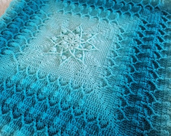 Textured crochet afghan/blanket pattern Melina Dreams. Written instructions, video tutorial. Perfect for mother, daughter, baby girl shower