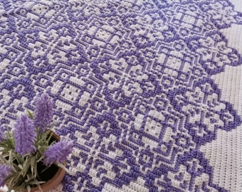 Floral mosaic crochet afghan/blanket pattern Blooming Mosaic Tiles worked from center out. Includes: chart and mosaic crochet basics, tips