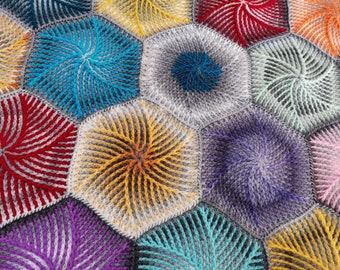 Brioche crochet hexagon pattern Swirly Candy. Written instructions, video tutorial. Unique unisex nursery design