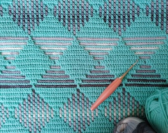 Easy geometric mosaic crochet afghan/blanket pattern Dancing Squares. Gender neutral. Includes: chart and mosaic crochet basics, tips