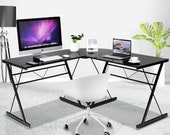 L-Shape Computer Desk Corner Laptop Table with Tempered Glass Powder-Coated Solid Steel Frame Durable Sturdy