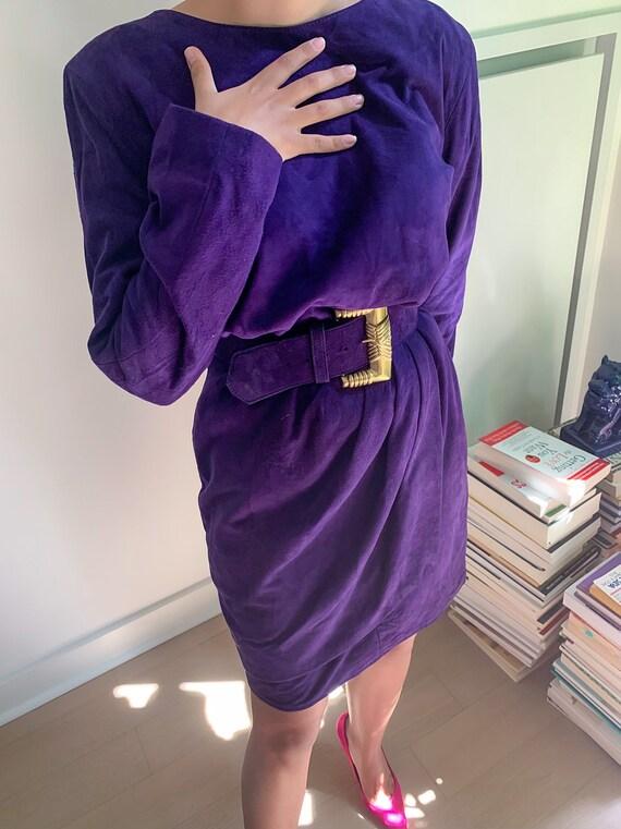 Vintage Suede Purple Belted Dress