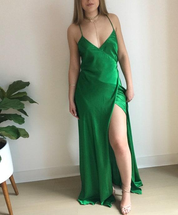 Rihanna Approved Emerald Green Silk Dress New*
