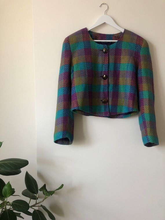 Bright Boxy Vintage Check Tweed Style Multi Colour
