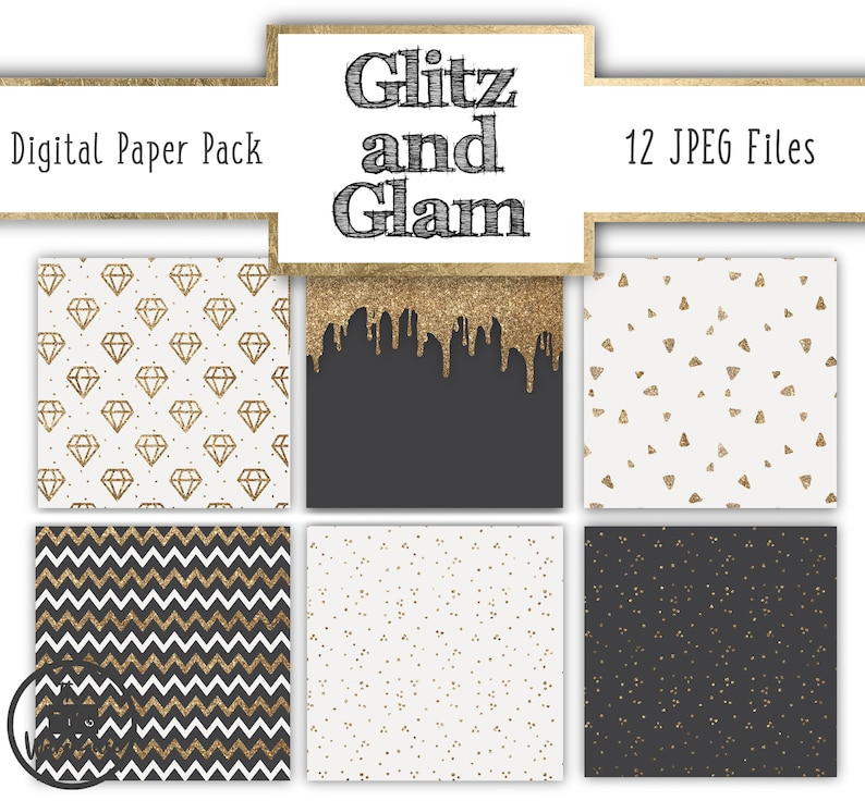 gold grey glitter sparkle patterns diamonds dots 12x12 inches 300dpi Digital Paper Pack 12 JPegs GLITZ and GLAM instant download