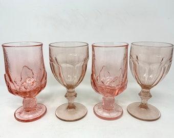 Set of 4 Vintage Pink Goblets, Mismatched Pink Glasses Set