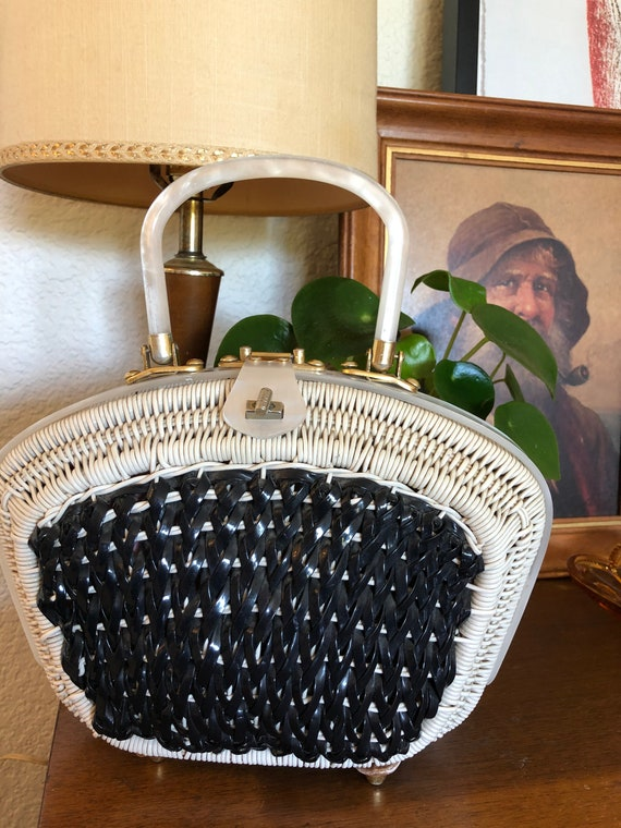 Vintage Stylecraft Handbag // Wicker + Lucite