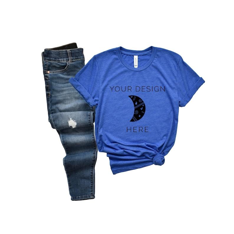 Bella Canvas 3001 Heather True Royal Mockup Blue Tshirt Etsy