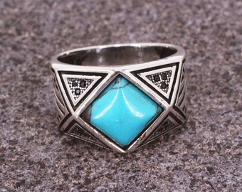 Mens Sterling Silver 925 Turquoise Ring,  Silver 925 Mens Ring, Gift for Him, Geometric Men's Ring, Turquoise Square Cut Mens Ring, Gift