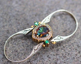 Extraordinary Ring, Reversible Ring Two in a One Ring 925 Sterling Silver Band Women gift, Emerald Mystic Topaz Ring, Mother's Day Gift