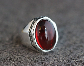 Mens Handmade Ruby Ring, Ruby Mens Ring , Silver Mens Ottoman Ring, Gift for Him, Ottoman Silver 925 Mens Ring, Turkish Mens Ring, Gift