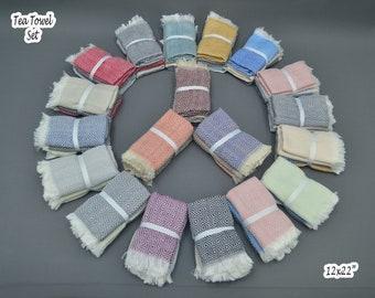 Set of 3 pcs, Turkish Towel, Turkey Towel, Tea Towel Set, Hand Towel Set, Peshkir Towel, Kitchen Towel, Turkey Towel Bulk, Turkish Towel Set