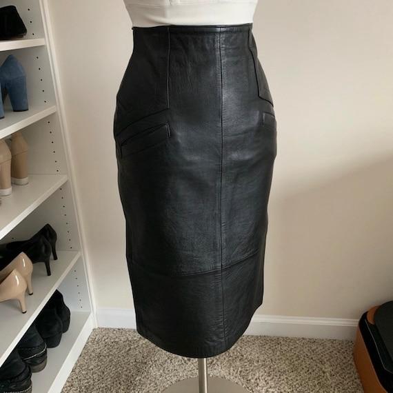 Black Genuine Leather Pencil Skirt