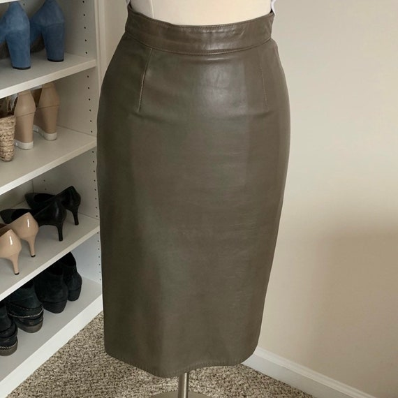 Genuine Leather Pencil Skirt - Olive Green