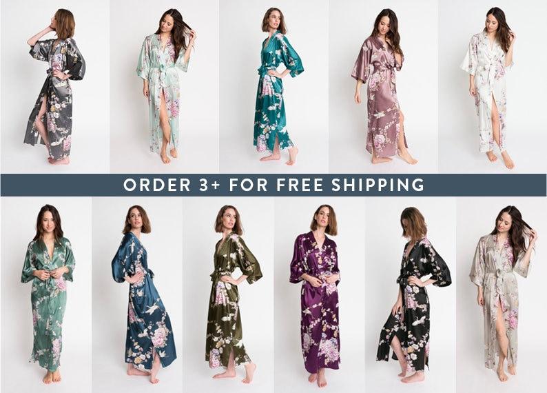 Anniversary Gift Bridesmaid robes KIM+ONO Collection Satin Long Kimono Robes in Chrysanthemum /& Crane Birthdays Gifts for Brides