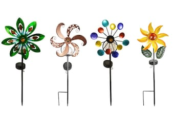 Solar Wind Spinning Pinwheel Yard Garden Metal Stake Light, Beautiful decoration & curb appeal, Eco Friendly Great Gift BESTSELLER FREE SHIP