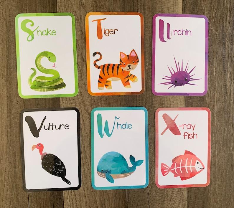 Tier Alphabet Flash-Karten Lernen Flashcards Vorschule | Etsy