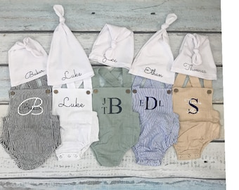 Coming Home from Hospital Monogram Bodysuit Newborn Baby Boy Outfit Pants with Seersucker cuff Newborn Boy Coming Home from the Hospital