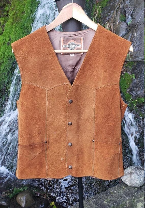 Leather Vest / Suede Vest / Vintage Vest / Vintag… - image 1