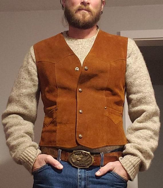 Leather Vest / Suede Vest / Vintage Vest / Vintag… - image 7