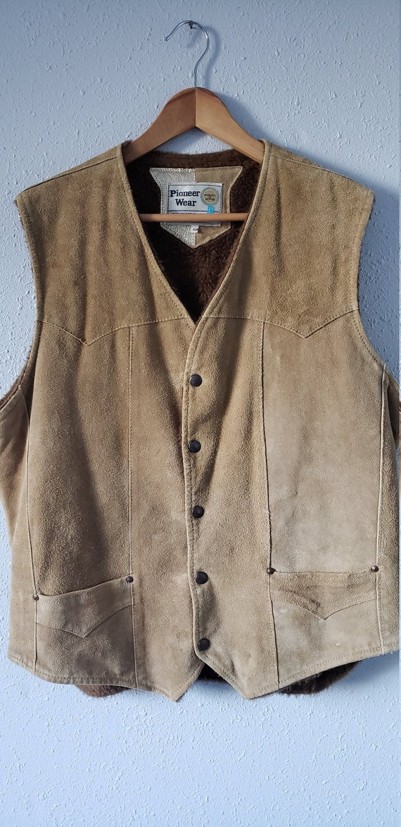 Leather Vest / Shearling Lined Vest / Vintage Vest
