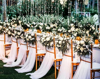 2 Meters Wedding Party Outdoor Guest Chair Decorative Yarn Mesh Gauze White Wedding Scene Decoration Cloth