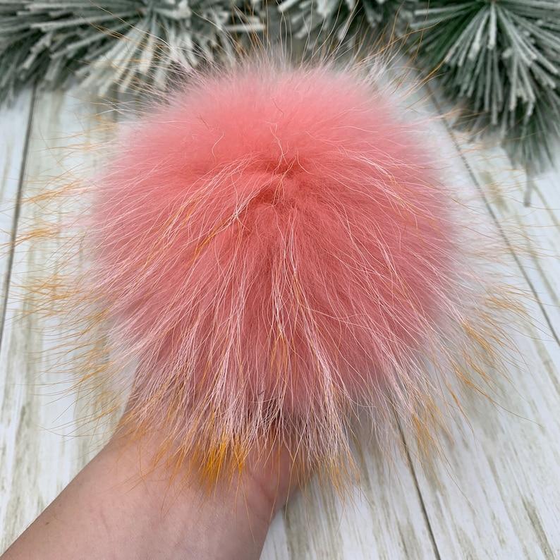 Flamingo Pink With Fire Tips Real Raccoon Fur Pom Pom 7\u201d Fur Poof