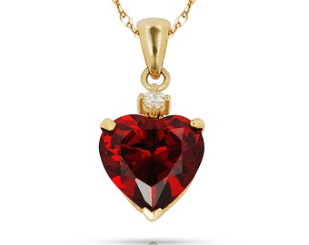 """14K Solid Yellow Gold 0.75"""" w/bail Heart Pendant with January Garnet Birthstone"""