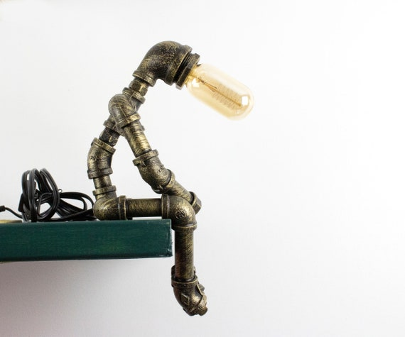 Gas pipe lamp,handmade lamp,thinker lamp,steampunk lamp,industrial lamp,plumbing pipe light,industrial desk lamp,black iron pipe lamp