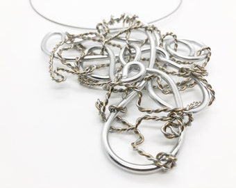 Hammered jewelry Statement Necklace Wired by HumbleBee Statement necklace Silver hammered wrapped necklace Humble Wire wrapped jewelry
