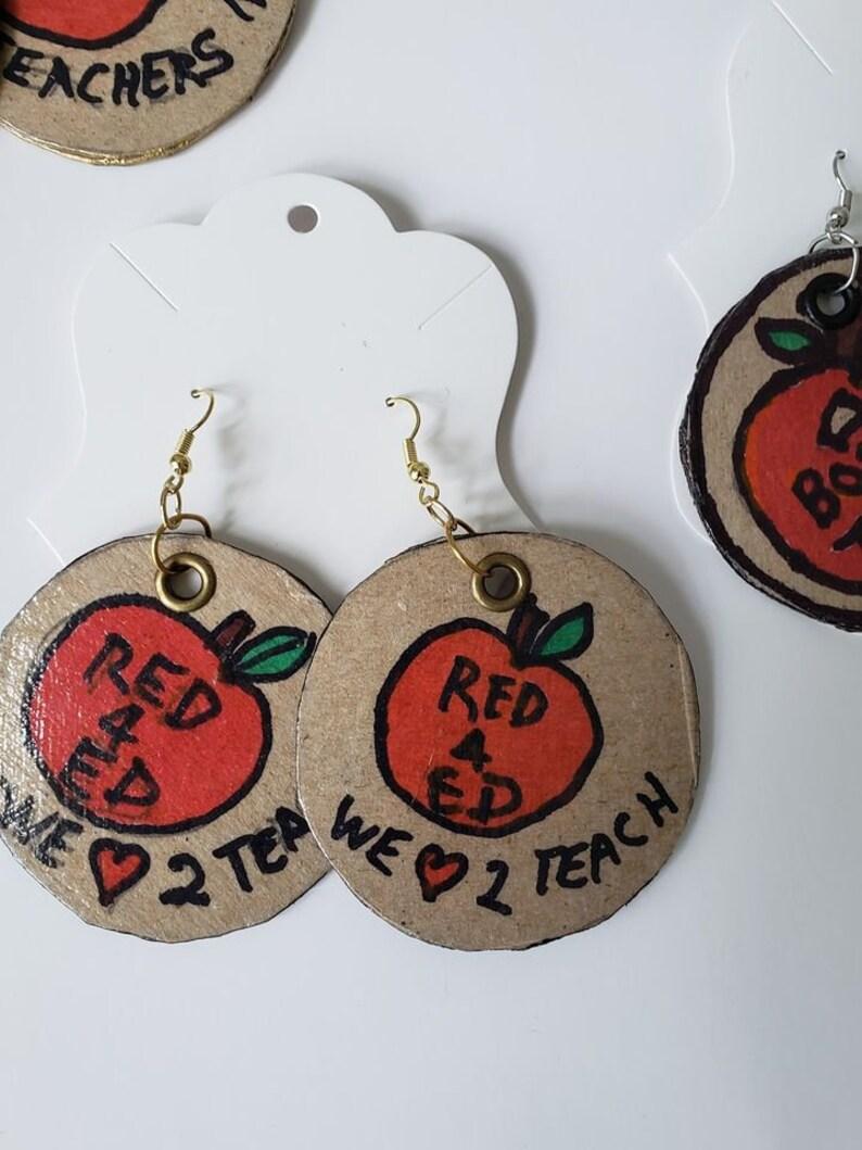 NC Teachers Teacher   Appreciation Gifts Custom Teacher Earring Chipboard Teacher Earrings Teacher Gifts Red for Ed Teachers Rule