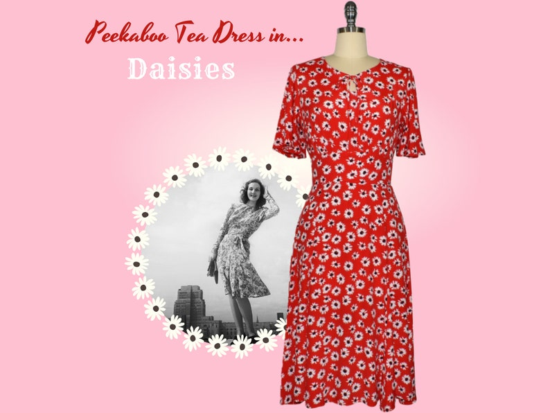 1940s Dress Styles Peekaboo Teadress - Daisy $104.25 AT vintagedancer.com