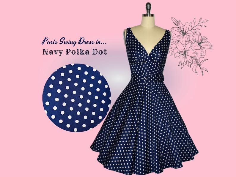 1950s Dresses, 50s Dresses | 1950s Style Dresses Paris Swing Dress - Navy Polka Dot $120.41 AT vintagedancer.com
