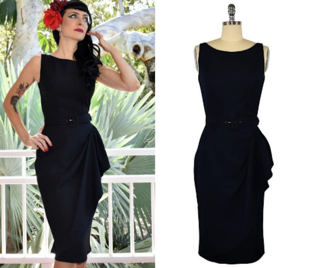 1950s Bridesmaid Dresses   50s Bridesmaid Dresses Grace Sarong Dress - Midnight Black $118.92 AT vintagedancer.com