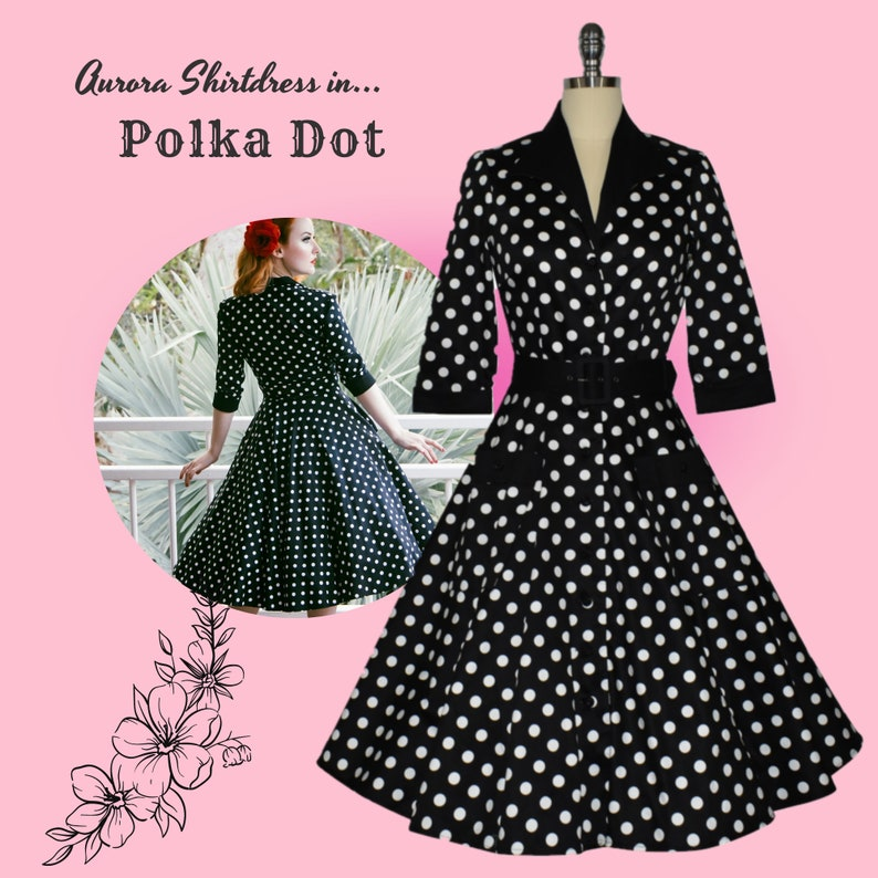 1950s Dresses, 50s Dresses | 1950s Style Dresses Aurora Shirtdress - Polka Dot $136.58 AT vintagedancer.com