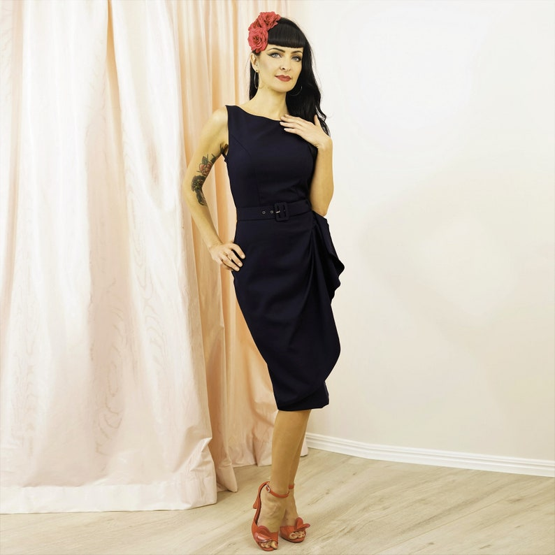 1950s Style Clothing & Fashion Grace Sarong Dress - French Navy $114.54 AT vintagedancer.com