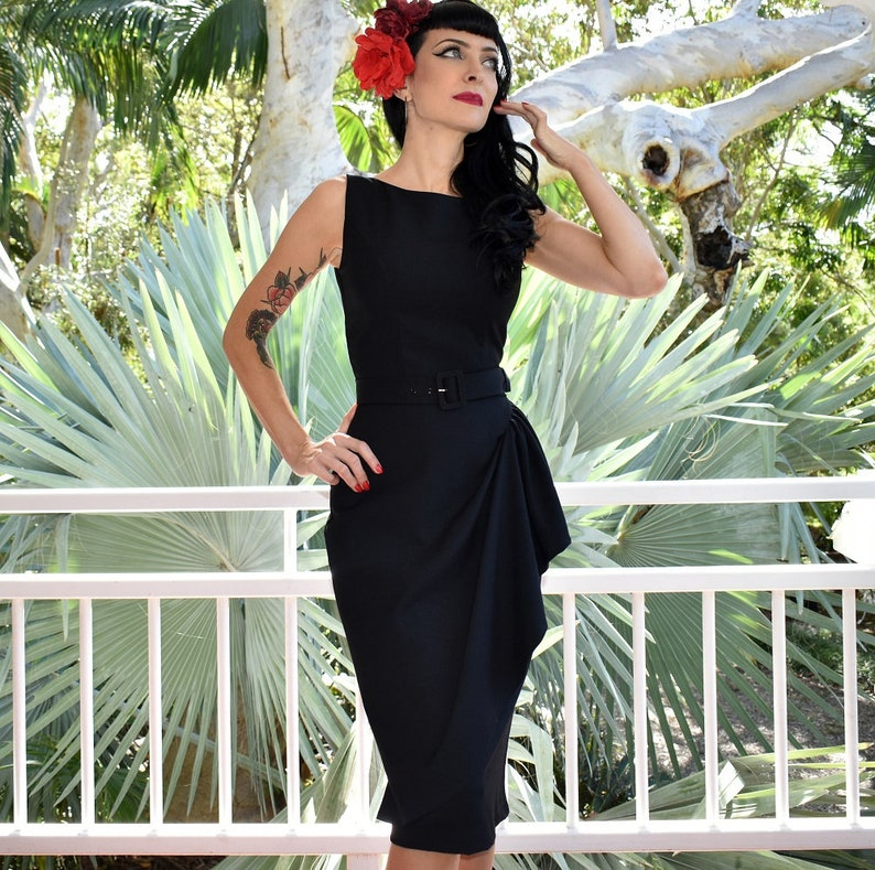 1950s Style Clothing & Fashion Grace Sarong Dress - Midnight Black $118.92 AT vintagedancer.com